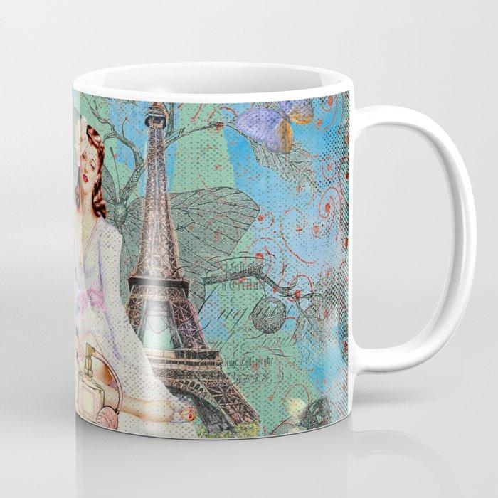 Paris - mon amour - Fashion Girl In France Eiffel tower Nostalgy - French Vintage Coffee Mug