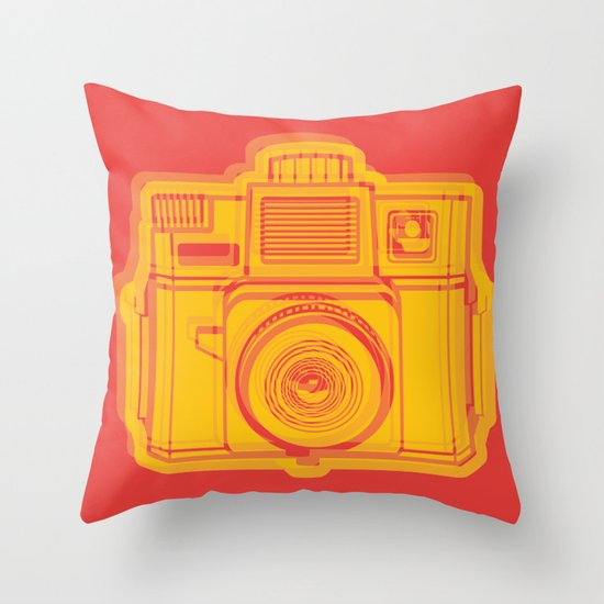 I Still Shoot Film Holga Logo - Reversed Yellow & Red Throw Pillow