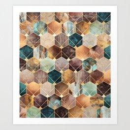Natural Hexagons And Diamonds Art Print