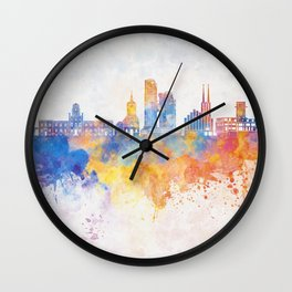 Gdynia skyline in watercolor background Wall Clock