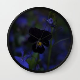 Black and Blue Flower Wall Clock