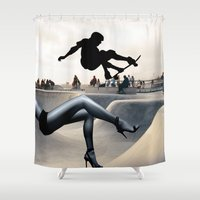 skate Shower Curtains featuring Skate Boarding by Cs025