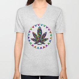Butterflies Cannabis Leaf 2 Unisex V-Neck
