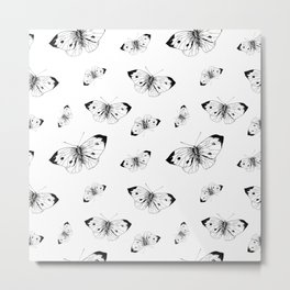 Butterfly sketch pattern. Hand drawn insect butterflies cabbage on white background. Metal Print