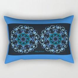 Grace Mandala x 2 - Blue Black Rectangular Pillow