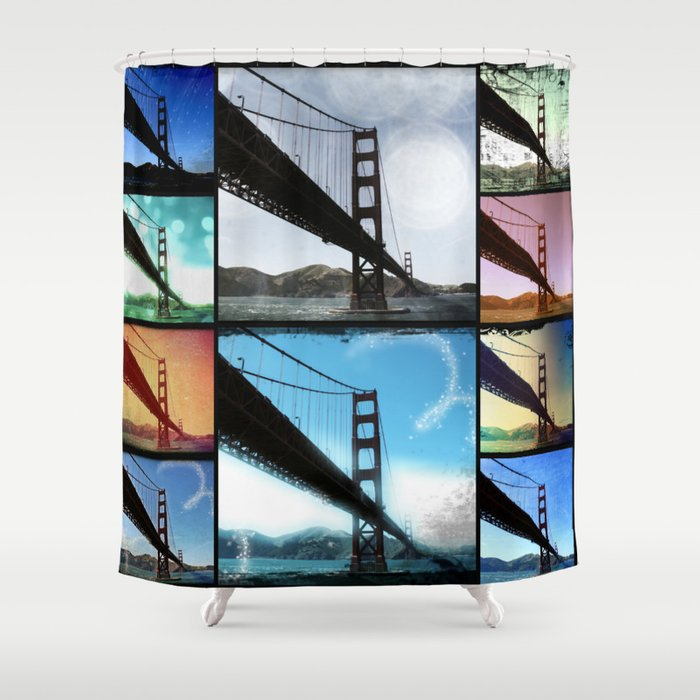 Golden Gate Bridge colorful Photo Collage Shower Curtain by Christine aka stine1 on Society6