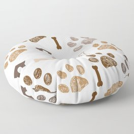 Brown colored paw print with bone and dog hut Floor Pillow