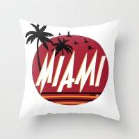 miami Throw Pillows featuring Miami by FRSHCo.