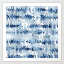 Modern hand painted dark blue tie dye batik watercolor Art Print