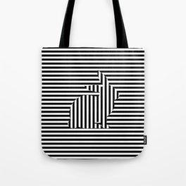 Rabbit on Stripes Tote Bag