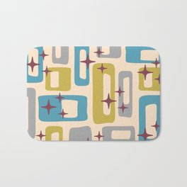 Retro Mid Century Modern Abstract Pattern 924 Turquoise Gray Olive Bath Mat