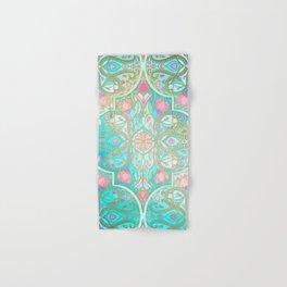 Floral Moroccan in Spring Pastels - Aqua, Pink, Mint & Peach Hand & Bath Towel