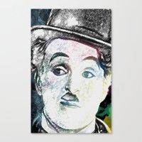 chaplin Canvas Prints featuring Chaplin by Marian - Claudiu Bortan