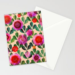 Bright Blooms Modern Hand-Print Floral Stationery Cards