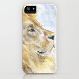 African Lion Watercolor iPhone Case
