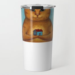 Every Cat need a Home. Ginger Cat Illustration Travel Mug