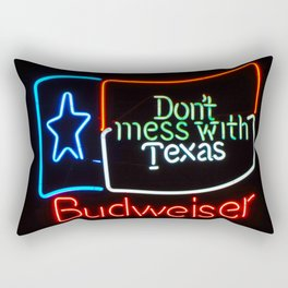 Don't Mess With Texas - Neon Beer Sign Rectangular Pillow