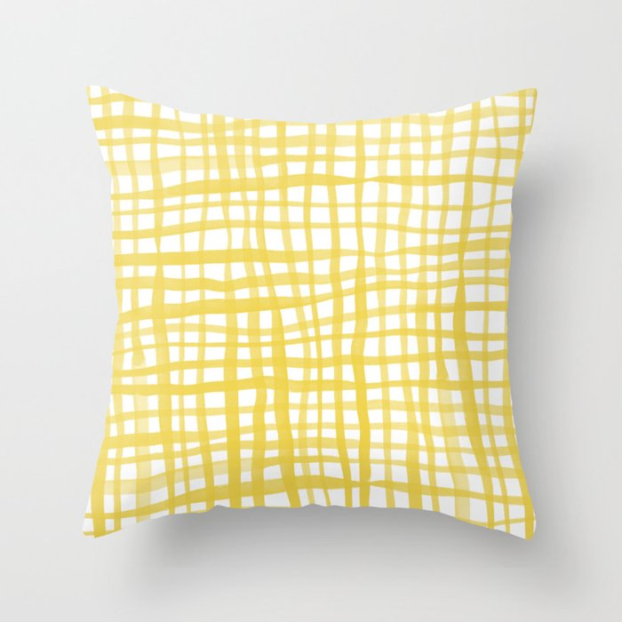 Watercolor doodle gingham - yellow Throw Pillow