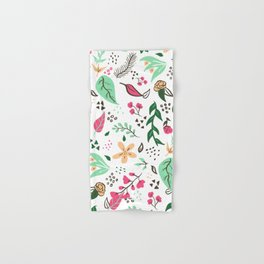 Modern hand drawn spring floral pattern pink green yellow flowers illustration Hand & Bath Towel