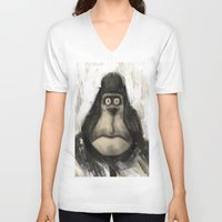 ape V-neck T-shirts featuring mr. Ape by mystudio69