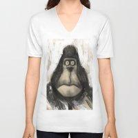 ape V-neck T-shirts featuring mr. Ape by mystudio69