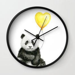 Panda with Yellow Balloon Baby Animal Watercolor Nursery Art Wall Clock