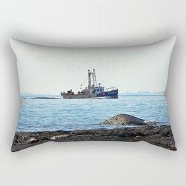 Fishing Close to Shore Rectangular Pillow