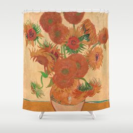 Vase with Fourteen Sunflowers by Vincent van Gogh Shower Curtain