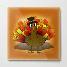 Thanksgiving Turkey Pilgrim Metal Print