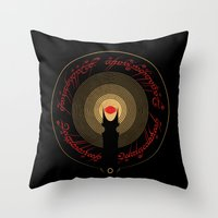 the lord of the rings Throw Pillows featuring The Lord of the Rings by Ian Wilding
