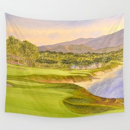 Pebble Beach Golf Course Holes 9 and 10 Wall Tapestry