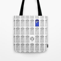 tardis Tote Bags featuring Tardis by Megan Twisted