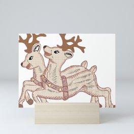 Two Reindeer Mini Art Print
