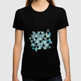 Glamorous Blue Glitter And Foil Triangles T-shirt