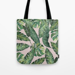 Jungle Leaves, Banana, Monstera Pink #society6 Tote Bag