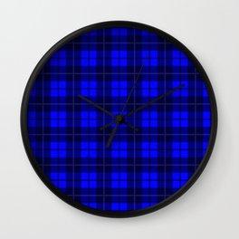 Cobalt Plaid Wall Clock