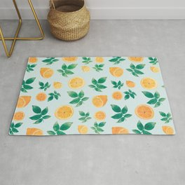 Trendy Yellow Lemon Fruit & Leaves Mint Pattern Rug