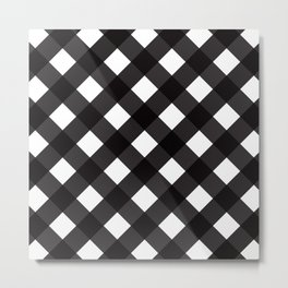 Contemporary Black & White Tilt Gingham Pattern - Mix & Match With Simplicty Of Life Metal Print
