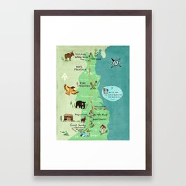 Appalachian Trail Hiking Map Framed Art Print
