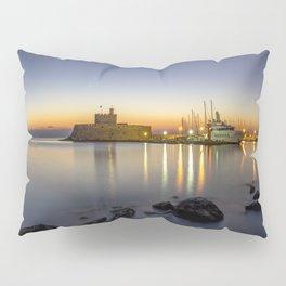 Mandraki harbour of Rhodes Greece at sunrise Pillow Sham