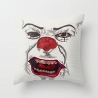 pennywise Throw Pillows featuring IT. by AlienHobo51