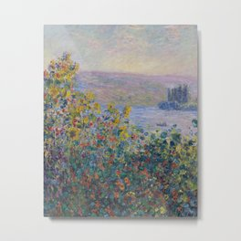 Flower Beds at Vetheuil by Claude Monet Metal Print