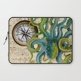Octopus Compass Green Music Collage Laptop Sleeve