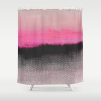 abstract Shower Curtains featuring Double Horizon by Georgiana Paraschiv