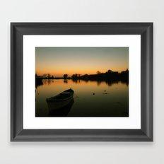 Sunset boat Framed Art Print