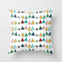 Cute Christmas tree colorful Throw Pillow