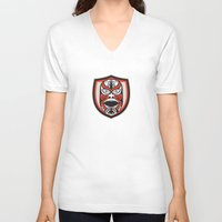maori V-neck T-shirts featuring Maori Mask Shield Retro by patrimonio