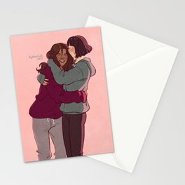 Girlfriends in hoodies Stationery Cards