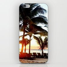 Palm Trees and Hawaii Sunset on Beach iPhone & iPod Skin