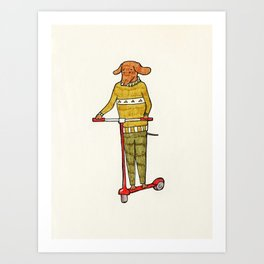 Dog on a scooter Art Print